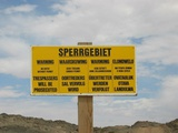 Signpost of Sperrgebiet close to Second Lagoon
