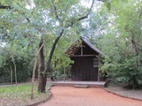 Accommodation is available in little wooden chalets