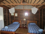 The wooden chalet on the inside