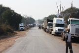 Rows and rows of trucks waiting to pass through the border