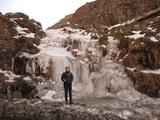 Frozen waterfall on the pass