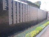 A wall of remembrance of some of the more than one million people who died in the genocide in Rwanda