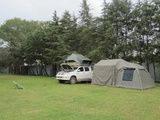 There is a bigger camping area outside the garden, but still inside the walled property