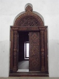 Typical Indian wooden door inside Palace of Wonders, Stone Town