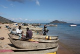 Local fishermen working on their nets